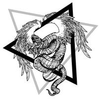Tattoo art Snake fly hand vector
