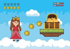 Escena de videojuego con princesa y cofre con oro. vector