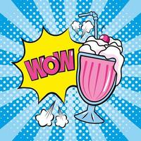 Milkshake and onomatopoeia pop-art comic strip