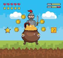 Videogame scene with warrior and pot with gold vector