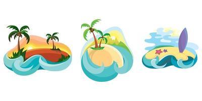 Set of tropical islands in ocean. vector