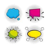 Set of pop-art blank speech bubbles