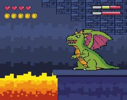 Videogame scene with dragon and fire vector