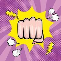 Woman's fist in pop-art style