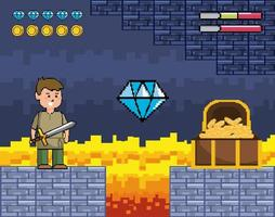 Videogame scene with prince and wooden chest vector