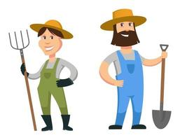 Male and female farmers. vector