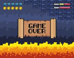 Game over videogame scene with lava vector