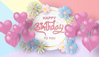 Paper art of Happy birthday elements background vector
