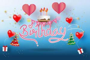 Paper art of Happy birthday  vector