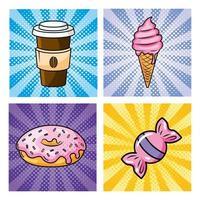 Set of pop-art food icons