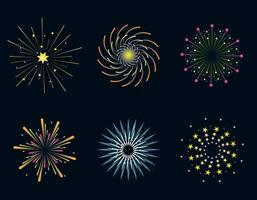 Set of festive fireworks.