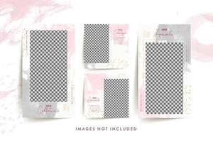 Fashion woman social media template with abstract pink