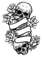 Hand drawing skull and flowers