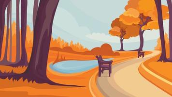 Road in autumn park. vector