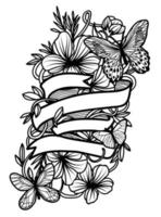 Tattoo art butterfly hand drawing vector