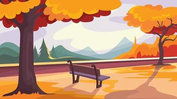 Autumn park on background of forest and mountains.
