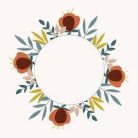 Doodle floral frame vector