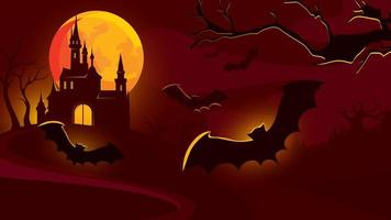 Halloween background with castle and flying bats.