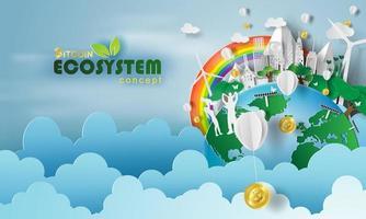 Paper art of bitcoin Ecosystem vector