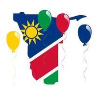 mapa y bandera de Namibia vector