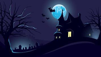 Fondo de halloween con castillo y cementerio. vector