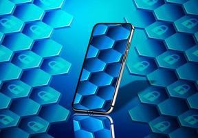 smartphone con diseño de candado