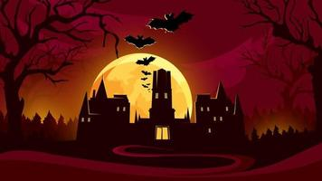Halloween background with castle under the red sky.