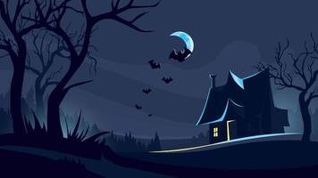 Halloween background with house in dark forest.