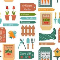 Seamless pattern of gardening objects in vintage style