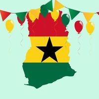 mapa y bandera de ghana vector