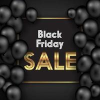 Black Friday background with balloons and gold text