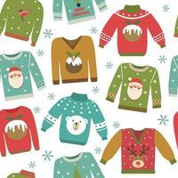feos suéteres navideños de patrones sin fisuras vector