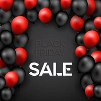 Black Friday background with red and black balloons