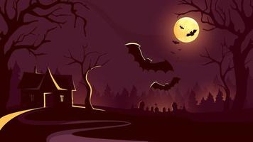 Halloween background with house and flying bats.