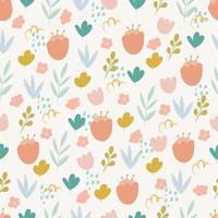 Seamless pattern with flowers in doodles style