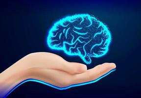 Closeup of female hand holding human brain design