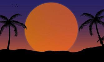ilustração simples de paisagem com lua cheia e palmeiras vetor