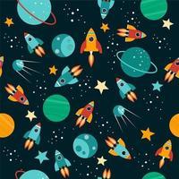 Seamless cartoon space pattern vector