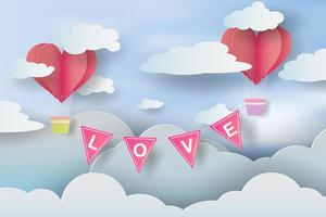 Paper Art and Craft of Love Invitation Card Valentine's Day vector