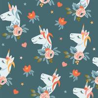 patrones sin fisuras con flores y cabezas de unicornios