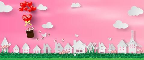 Paper Art and Craft of Valentine's Day Website Banner vector