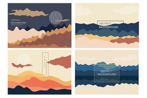 conjunto de papel tapiz de patrón de paisaje japonés