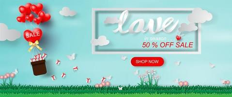 Paper Art and Craft of Valentine's Day Website Banner with Text
