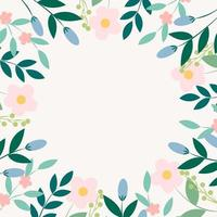 Background with flowers and leaves vector