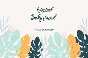 Background with tropical leaves. vector