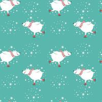 Christmas skating polar bears seamless pattern