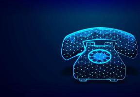 Vintage old rotary telephone low poly design vector
