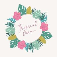 Frame with tropical leaves.  vector