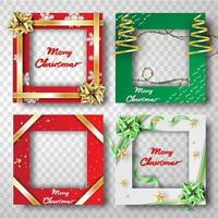 Merry Christmas and Happy New Year Border Frame Photo vector