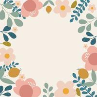 doodle fundo com flores vetor